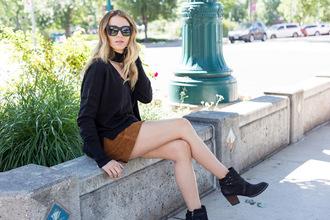 eatpraywearlove blogger sweater skirt shoes sunglasses ankle boots mini skirt black sweater