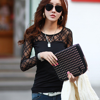 top lace mesh see through sexy curvy fashion korean fashion korean style ulzzang xl xxl floral long sleeves top fall outfits