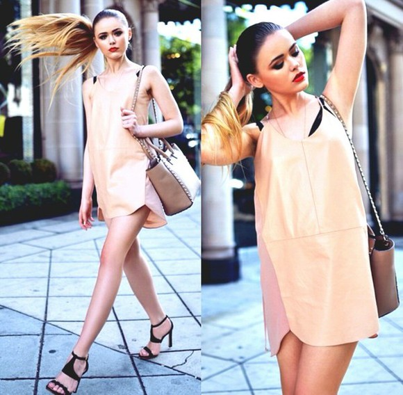 beige bag bag nude sandals beige dress straight ponytail rhinestones,nude looking color, &fish netting in the bottom