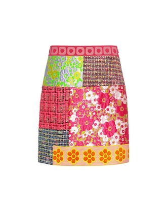 skirt mini skirt mini patchwork floral plaid pink