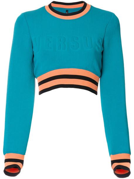 sweatshirt cropped women spandex cotton blue sweater
