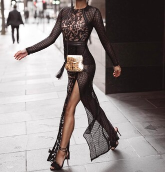 dress black cut-out dress scoop neck luxury lace dress sequins mesh bodysuit see through embroidered all black everything maxi dress long sleeves long dress