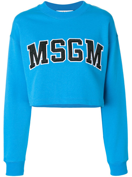 MSGM sweatshirt cropped women cotton blue sweater