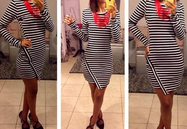 dress stripes black and white dress