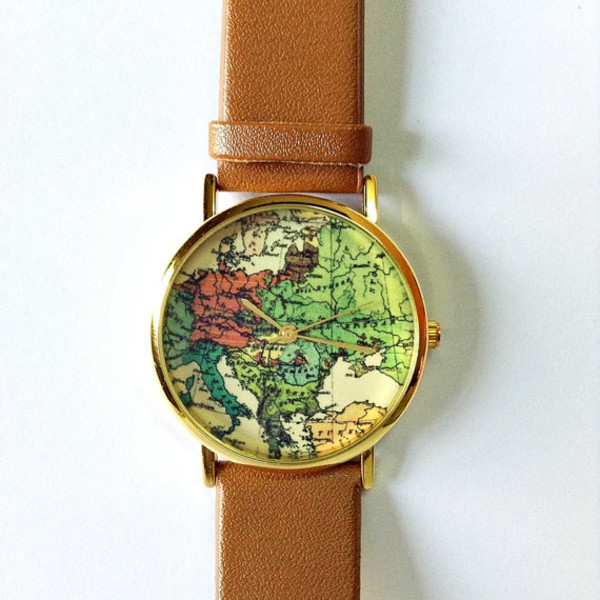 jewels map watch europe map world watch leather watch watch jewelry fashion style fashion accessory clock map print leather
