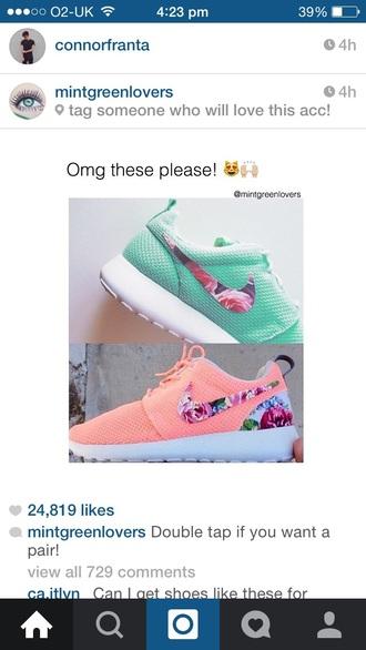 shoes blue pink mint floral