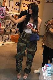 shoes,top,camouflage,camo pants,kim kardashian,streetstyle,mules,army green,army pants,camouflage pant,clear shoes,clear heels,clear heel,vue boutique