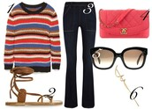 by funda,blogger,knitted sweater,flare pants,chanel bag,sandals,bag,top,sunglasses,jewels,leather sandals,shoes