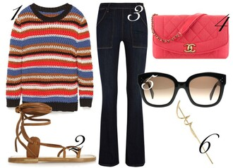 by funda blogger knitted sweater flare pants chanel bag sandals bag top sunglasses jewels leather sandals shoes