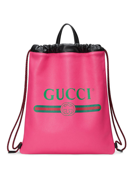 gucci women drawstring backpack leather print purple pink bag