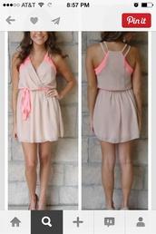 dress,tan and pink
