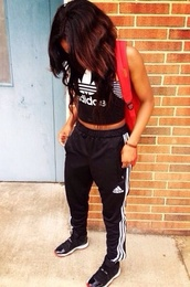 pants,adidas sweats,shirt,fitness,tank top,jewels,shoes,adidas,concords,sweatpants,black addidas,sportswear,jumpsuit,adidas pants,black and white,soccer,soccer pants,comfortable pants,comfy pants,comfy,black,white,top,the shirt,adidas tracksuit clothes top pants,cute,tumblr,jordans,crop tops