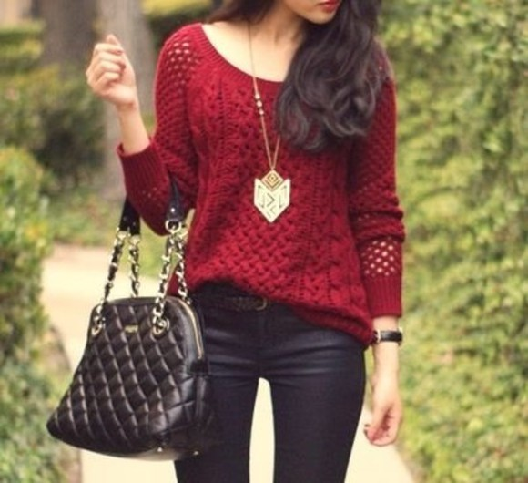 holes jeans clothes sweater red bag maroon oversized sweater