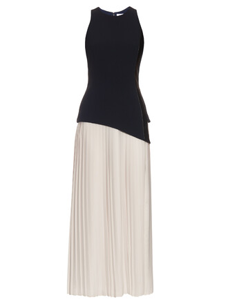 dress pleated navy white