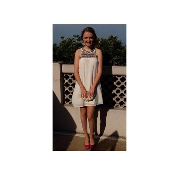 dress white cool tumblr vans dres nice jems jewels girl collar studs jk