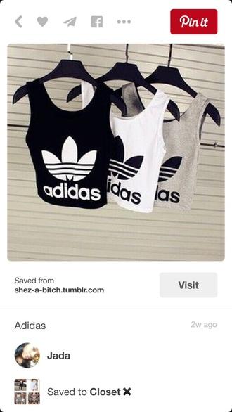 tank top adidas crop tops black white grey
