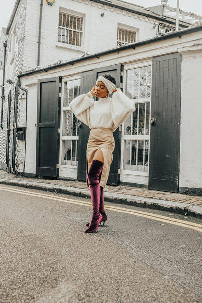 locks and trinkets blogger sweater skirt shoes jewels boots thigh high boots velvet boots slit skirt fall outfits
