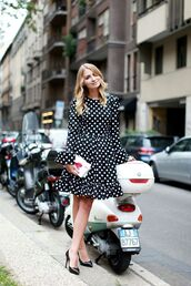 dress,tumblr,polka dots dress,polka dots,a line dress,long sleeves,long sleeve dress,bell sleeves,ruffle,ruffle dress,pumps,pointed toe pumps,black heels,shoes