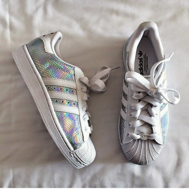 a9326d0f3d7d shoes adidas holographic holographic shoes adidas superstars sparky shiny  trainers cute white shoes