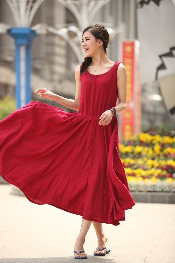Oversize Linen Dress Women's Red Maxi Dress by dresstore2000