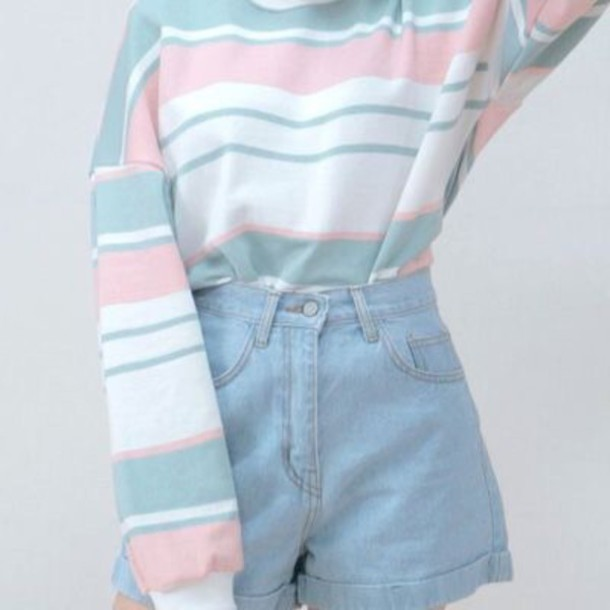 sweater kawaii korean fashion shorts striped pullover pullover High waisted shorts high waisted stripes blue shorts pink rose blue baby pink baby blue white top pastel shirt jumper pastel top cute pastel pink green pinterest long sleeves high waisted blue shorts High waisted shorts denim shorts korean style korean shirt pastel shirt pastel sweater cute outfits cute sweater cute shorts clothes forever 21 urban outfitters pastel stripes stripes oversized sweater girly aesthetic striped sweater sweet tumblr stripes overzised teal jacket