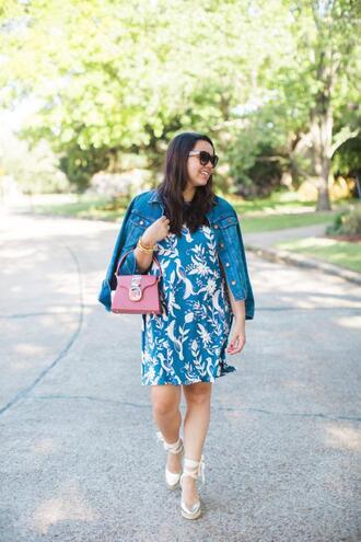 adoredbyalex blogger jacket dress shoes bag sunglasses jewels denim jacket pink bag spring outfits