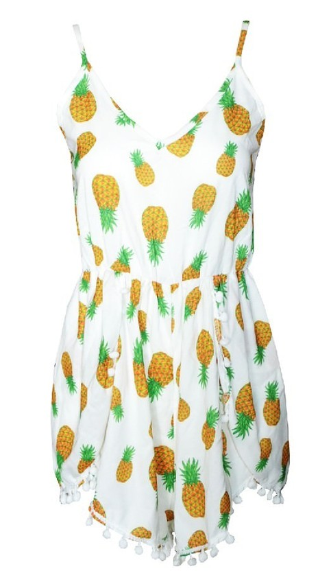 Outletpad | Pon Pon Print Pineapple Jumpsuit White | Online Store Powered by Storenvy