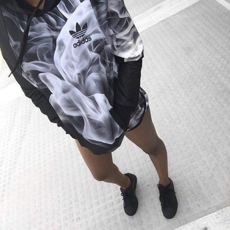 jacket sweater hoodie smoke black and white adidas