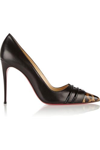 100 pumps leather print black leopard print shoes
