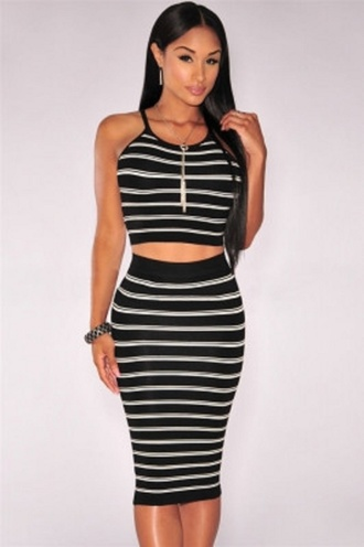 skirt two-piece knit midi two piece skirt sets party party skirts white and black stripes cute striped skirts wots-hot-right-now black and white black and white stripes midi skirt