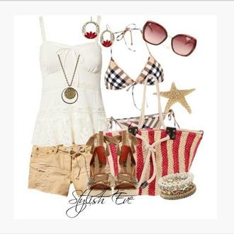 tank top shirt top shorts ivory top loose lace bikini plaid bikini bag purse beach bag heels high heels wedges sunglasses earrings bracelets bangle peep toe wedges clothes outfit