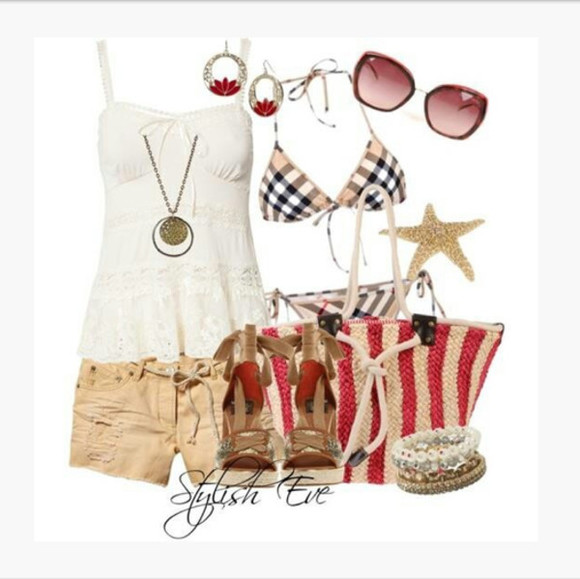 shorts shirt loose fit top tank top bikini ivory top lacey plaid bikini bag purse beach bag high heels wedges sunglasses earrings bracelet bangles peep toe wedges clothes outfit