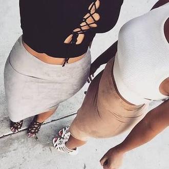 skirt suede skirt suede white crop tops heels black bodysuit black white white top grey suede black crop top cross cross crop top shoes