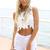 White Tank Top - White Floral Crochet Sleeveless Crop | UsTrendy