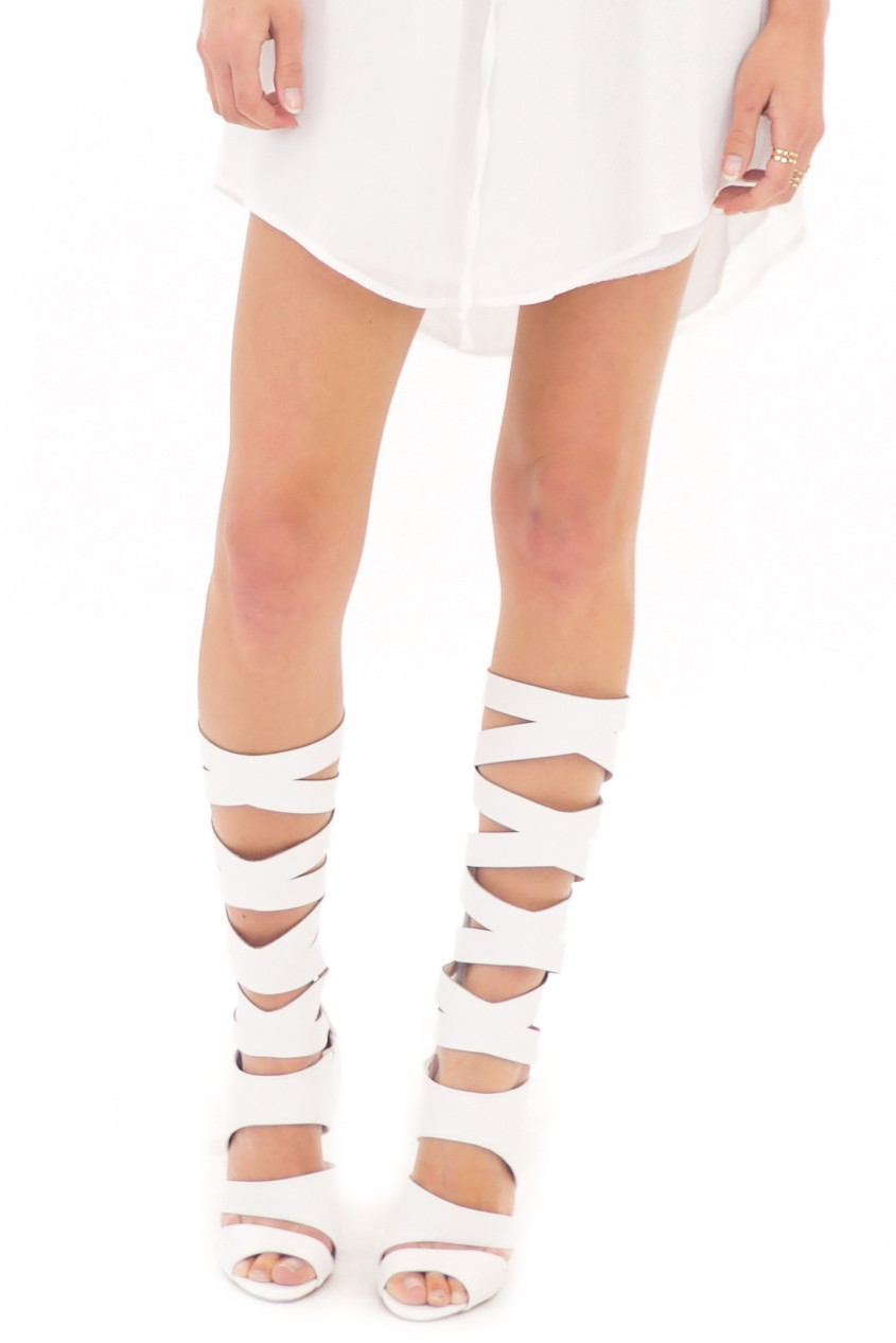 LANA HIGH GLADIATOR SANDAL - WHITE | Haute & Rebellious