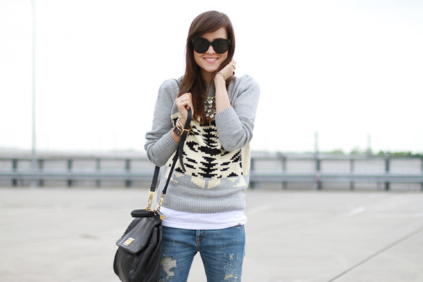 style scrapbook sweater jeans jewels bag