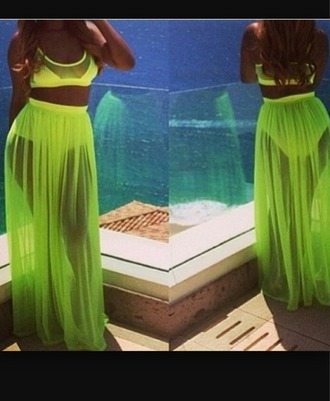 dress neon dress maxi skirt maxi dress 2 piece skirt set beach dress celebrity style flowy dress