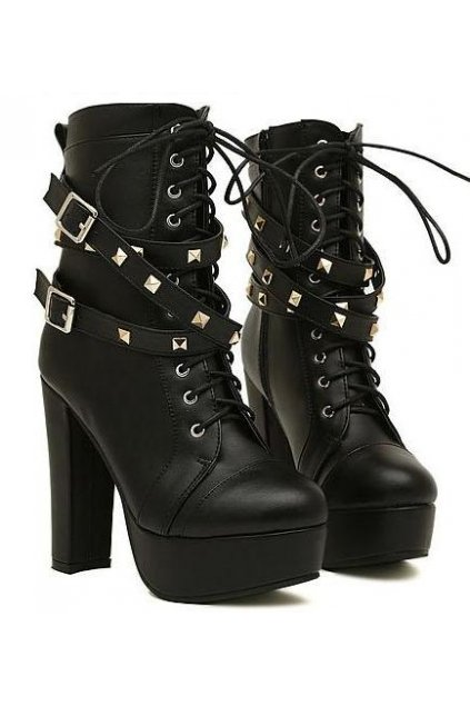Black Studs Punk Rock Lace Up High Top Military Combat Platform ...