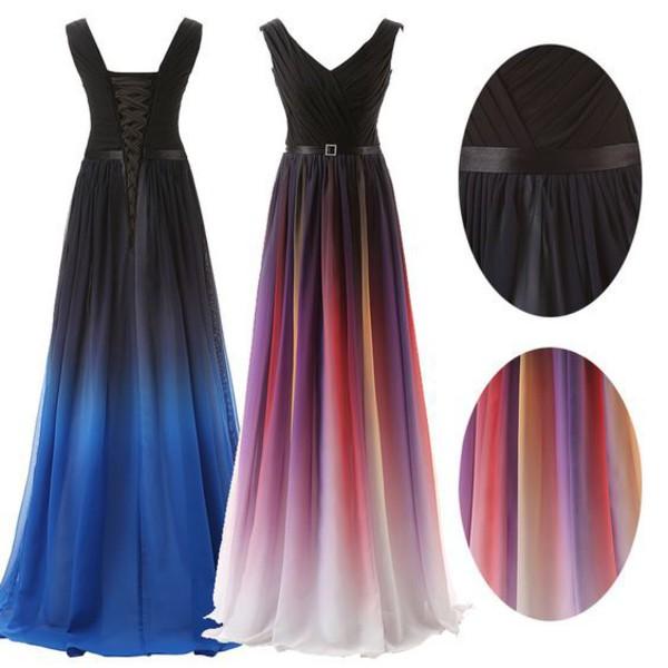 2016 Ombre Gradient Color Bridesmaid Dresses for Evening ...