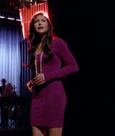 naya rivera santana lopez purple burgundy plum tight dress long sleeve dress