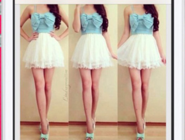 dress bow dress blue dress cream dress blue high heels