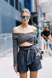 pants,ribbon,short pant,striped shirt,blue cold shoulder,mirrored sunglasses,urban,streetstyle,leather shorts