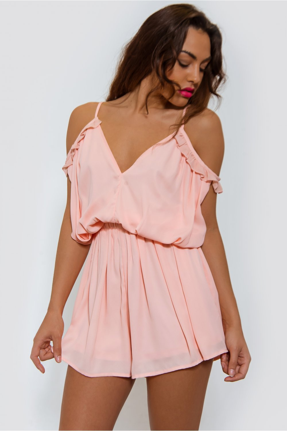 fc92001adef Peach Frill Bardot Playsuit - from The Fashion Bible UK