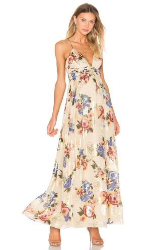 dress printed dress tan