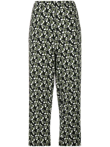 women floral black pants