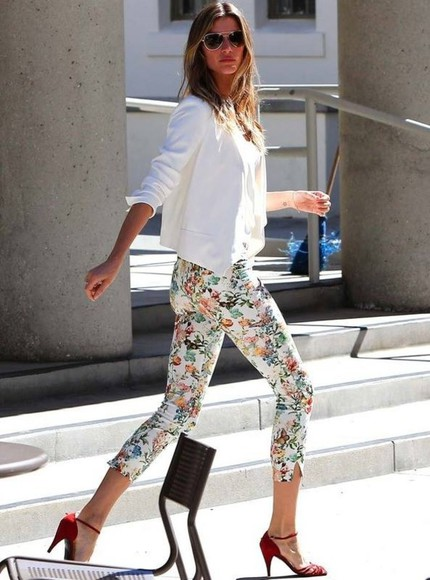 pants leggings floral white stretch skinny pants skinny jeans jeans summer summer outfits sweet
