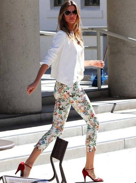 pants floral white stretch skinny pants skinny jeans jeans leggings summer summer. Black Bedroom Furniture Sets. Home Design Ideas
