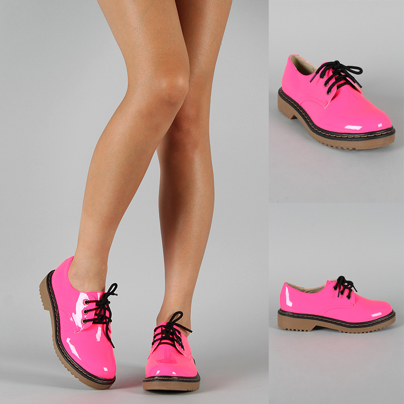 neon pink patent leather lace up toe low platform