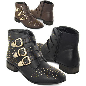 BLACK STUDDED WOMENS BROWN FLAT GOLD STUD WINTER LOW HEEL ANKLE ...
