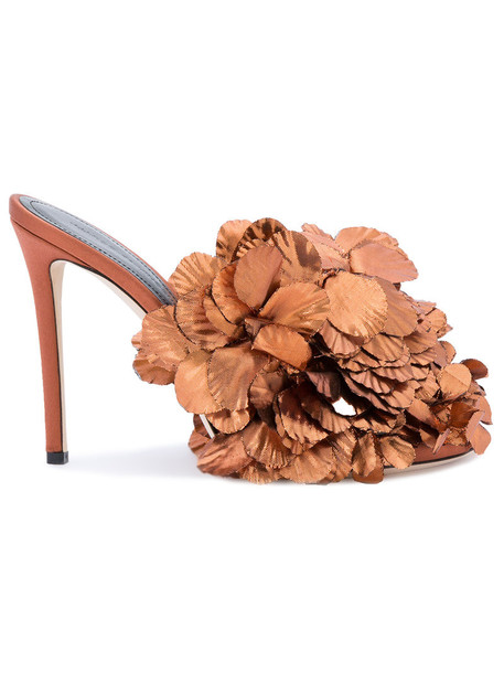 women sandals floral leather silk brown satin shoes